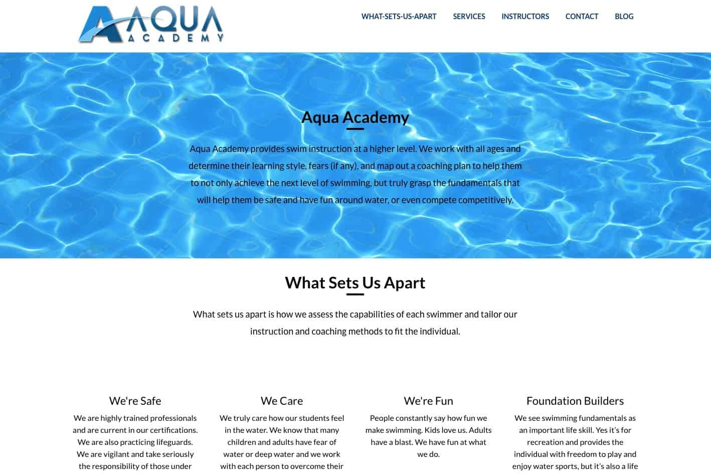 AquaAcademy Website Sample