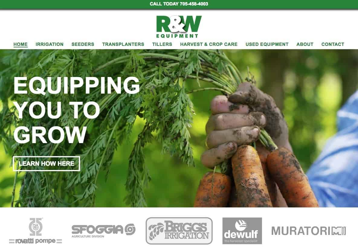 R&WEquipment Website Sample